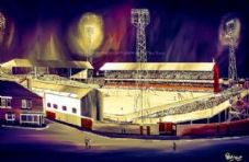 Sunderland Roker Park 1970's bright night scene - A3 approx poster print